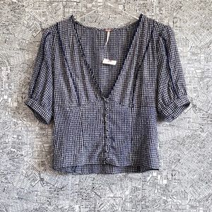 "Free People Gingham ""Ivy"" Puff Sleeve Button Top"